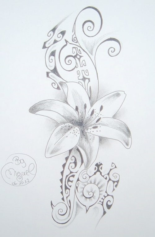 dessin tatouage fleur fond maori polynesien. Black Bedroom Furniture Sets. Home Design Ideas