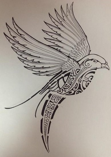 dessin pour tatouage oiseau rempli symboles motifs polynesiens maori bird tattoo. Black Bedroom Furniture Sets. Home Design Ideas